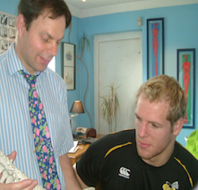 Adrian with James Haskell – England & London Wasps rugby player